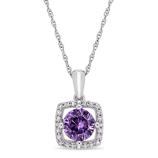 Womens 1/10 CT. T.W. Lab Created Purple Alexandrite 10K White Gold Pendant Necklace