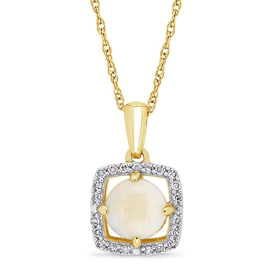 Womens 1/10 CT. T.W. Genuine White Opal 10K Gold Pendant Necklace