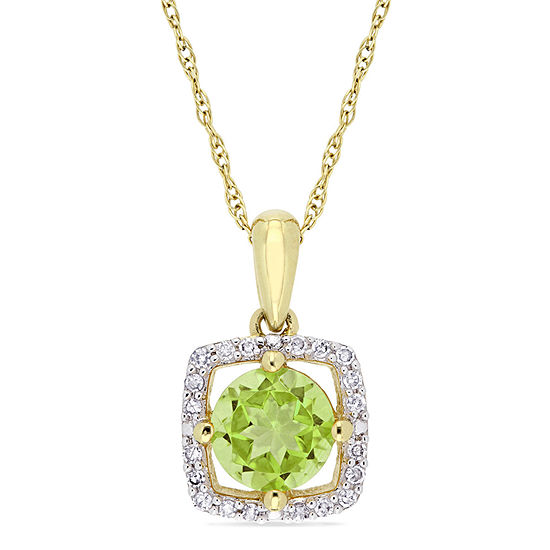 Womens 1/10 CT. T.W. Genuine Green Peridot 10K Gold Pendant Necklace