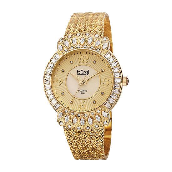 Burgi Womens Gold Tone Strap Watch-B-120yg