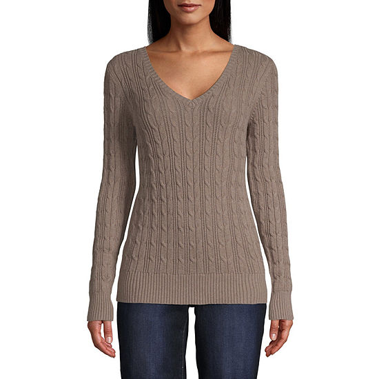 St. John's Bay Womens V Neck Long Sleeve Pullover Sweater-Tall
