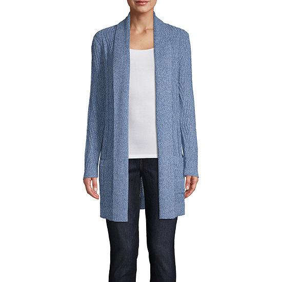 St. John's Bay-Tall Womens Long Sleeve Open Front Cardigan