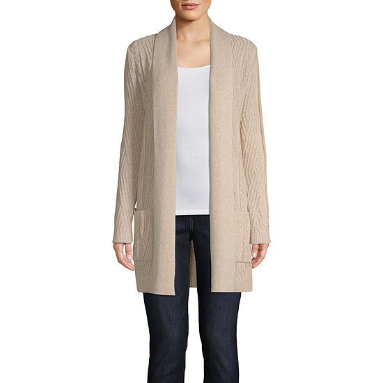 St. John's Bay Womens Long Sleeve Open Front Cable Cardigan