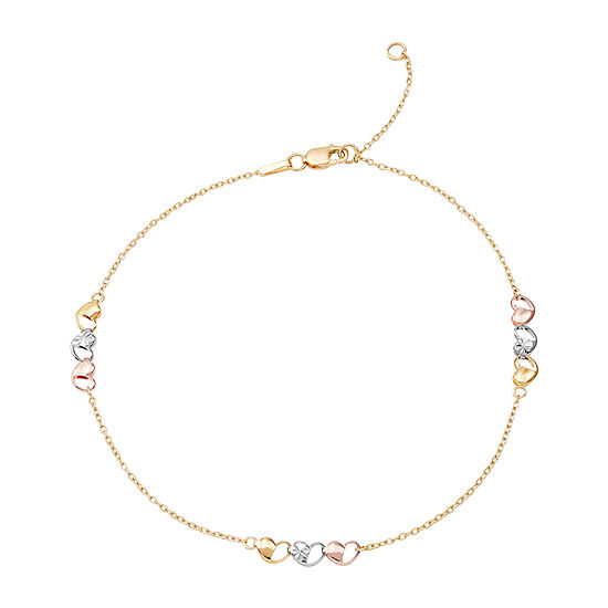 10K Tri-Tone Gold Openwork Heart Anklet