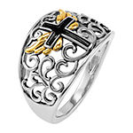 Forever Inspired Womens 2MM 18K Gold Over Silver Cross Band