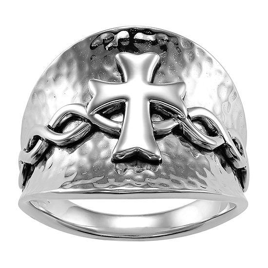 Forever Inspired Womens 2.5MM Sterling Silver Cross Band
