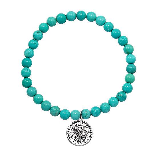 Forever Inspired Enhanced Green Turquoise Sterling Silver Charm Bracelet