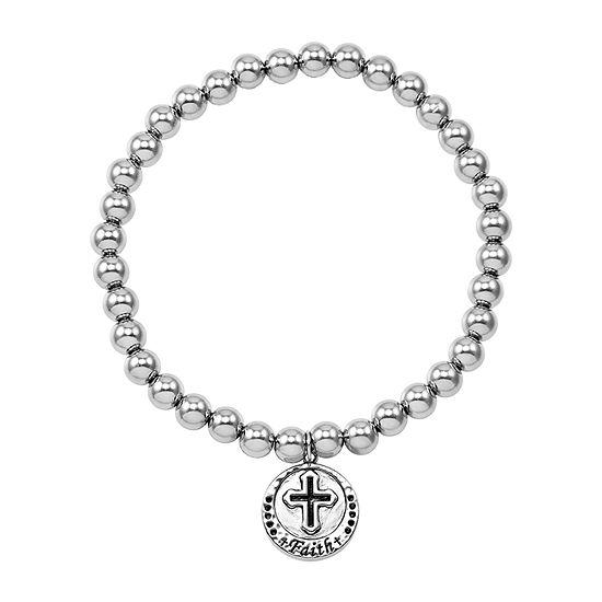 Forever Inspired Sterling Silver Cross Charm Bracelet