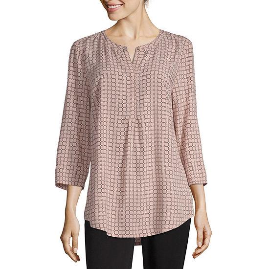 Liz Claiborne Studio Womens Split Crew Neck 3/4 Sleeve Tunic Top