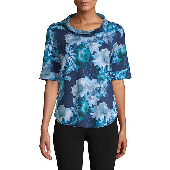 St. John's Bay Active Womens Cowl Neck Elbow Sleeve T-Shirt