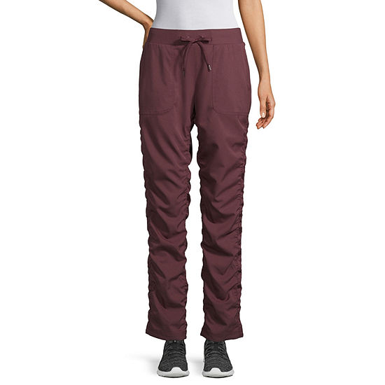 St. John's Bay Active Womens Mid Rise Straight Shirred Pull-On Pants