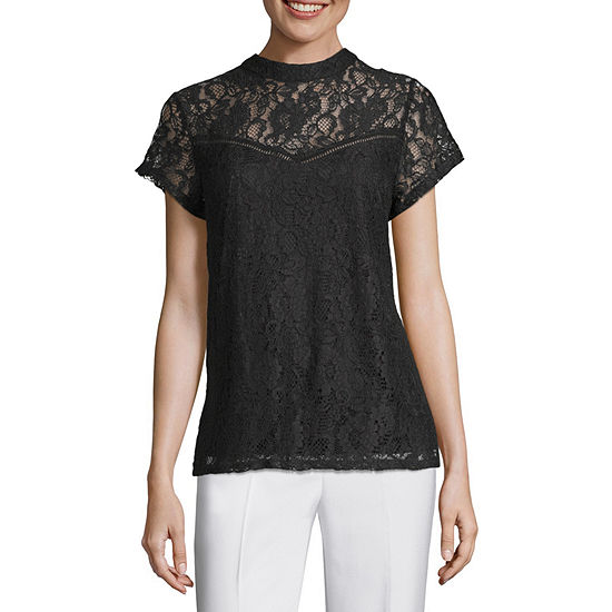 Worthington Lace Tee Womens Mock Neck Short Sleeve Lace Lined Blouse