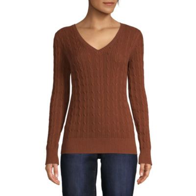 St. John's Bay Womens V Neck Long Sleeve Pullover Sweater