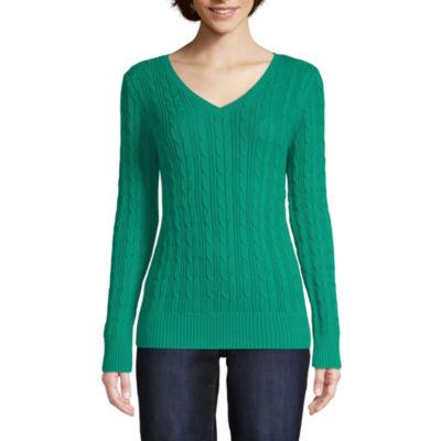 St. John's Bay Womens V Neck Long Sleeve Pullover Sweater