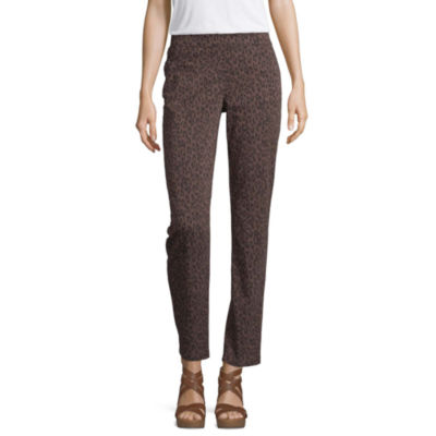 Liz Claiborne Womens Mid Rise Slim Pull-On Pants