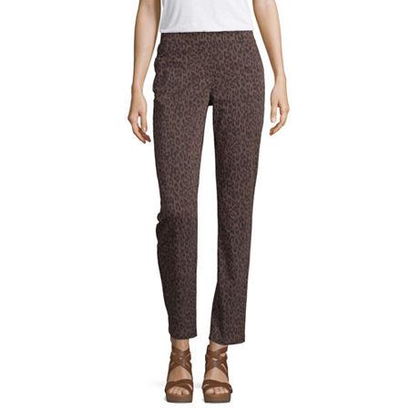 Liz Claiborne Womens Mid Rise Slim Pull-On Pants, 12 , Brown