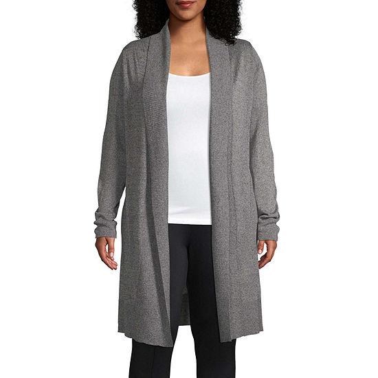 Worthington Womens Long Sleeve Duster Cardigan - Plus