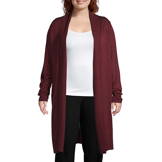 Worthington Womens Long Sleeve Duster Cardigan - Plus
