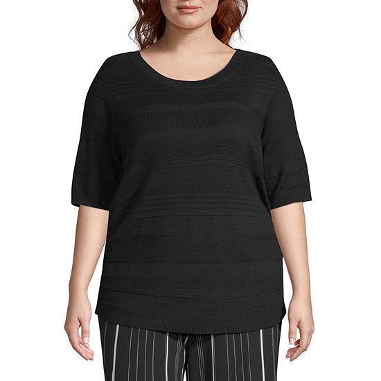 Worthington Womens Short Sleeve Sweater - Plus