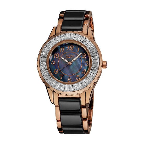 Burgi Womens Two Tone Stainless Steel Strap Watch-B-066bkr