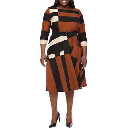 Plus Size Retro Dresses 50s, 60s ,70s, 80s, 90s Danny  Nicole Plus 34 Sleeve Midi Fit  Flare Dress 24w  Brown $58.80 AT vintagedancer.com