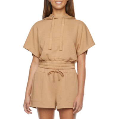 Flirtitude Juniors Womens Hooded Neck Short Sleeve Sweatshirt