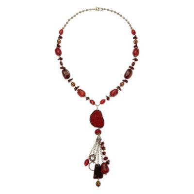Aris by Treska Red Stone Long Tassel Necklace