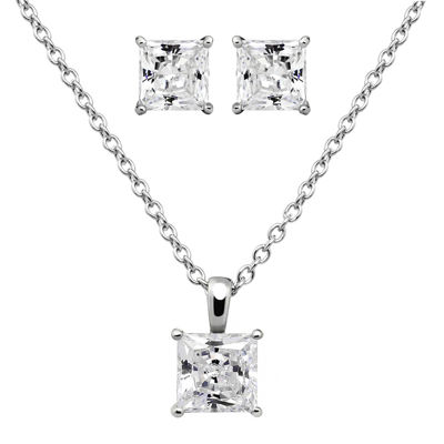 DiamonArt® Cubic Zirconia Sterling Silver Princess-Cut Earring and Pendant Necklace Set