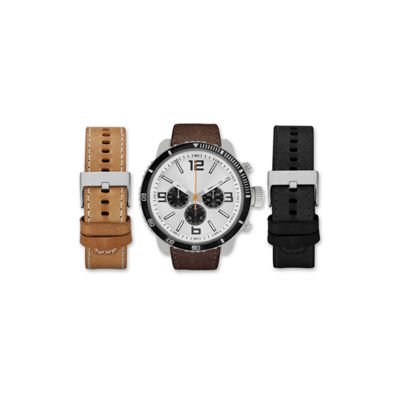 Mens Brown And White Interchangeable Strap Watch Set Amin5105S100-078
