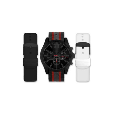 Mens Black And Red Interchangeable Strap Watch Set Amin5109B100-078