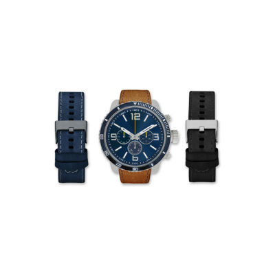 Mens Brown And Blue Interchangeable Strap Watch Set Amin5165S100-078