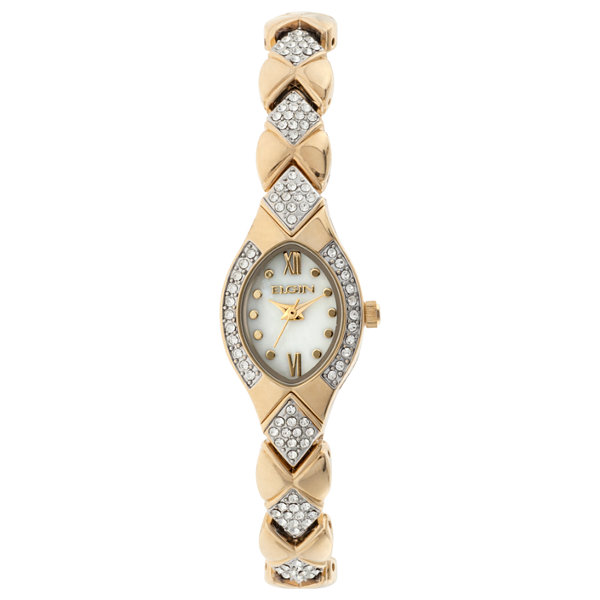 Elgin® Womens Gold Tone Mother Of Pearl Crystal Accent Bracelet Watch Eg10006G