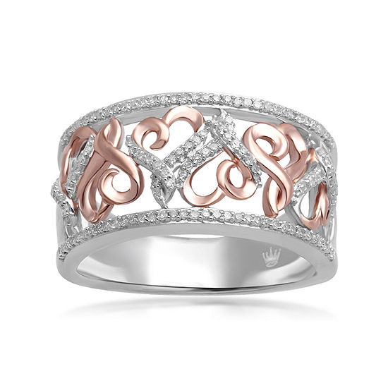 Hallmark Diamonds 1 4 Cttw Genuine Diamond Sterling Silver With 14k Rose Gold Accent Ring