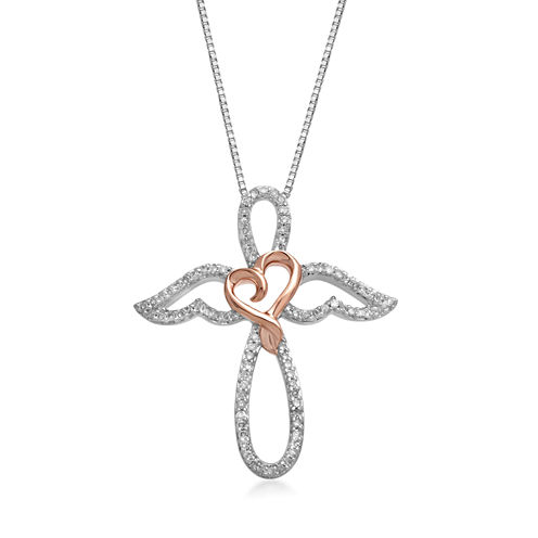 Hallmark Diamonds 1/4 CT. T.W. Diamond Sterling Silver With 14K Rose Gold Accent Pendant Necklace