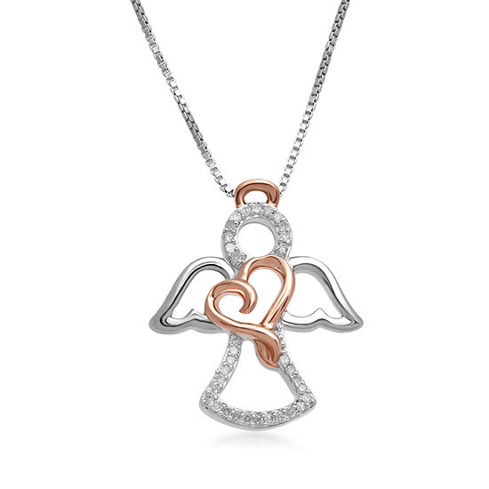Hallmark Diamonds 1/10 CT.T.W. Genuine Diamond Sterling Silver With 14K Rose Gold Accent Pendant Necklace