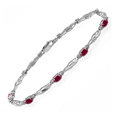 Limited Quantities! Womens Diamond Accent Red Ruby Sterling Silver Tennis Bracelet