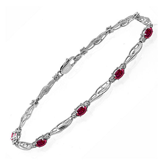 Limited Quantities! Diamond Accent Lab Created Red Ruby Sterling Silver 7.25 Inch Tennis Bracelet