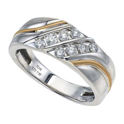 Mens 8mm 1/2 CT. T.W. Genuine Diamond 10K Gold Band