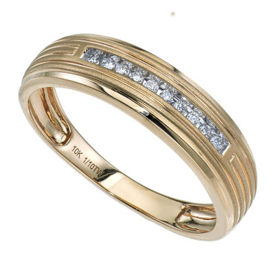 Mens 1/10 CT. T.W. Genuine Diamond 10K Gold Band
