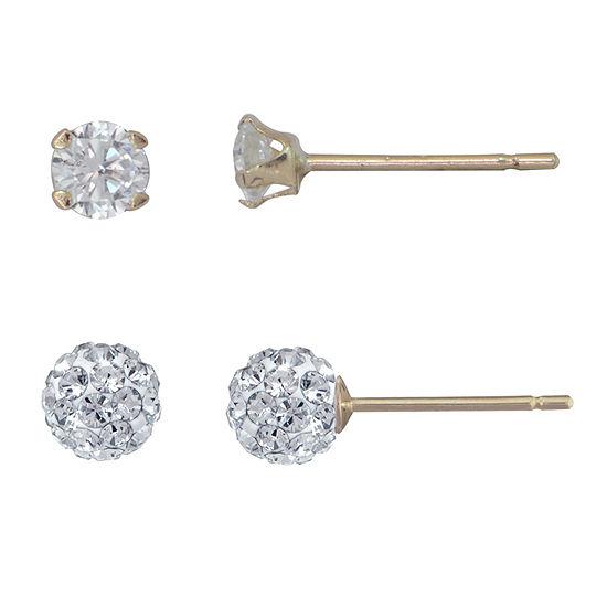 Na Lab Created Cubic Zirconia 10K Gold 2 Pair Earring Set