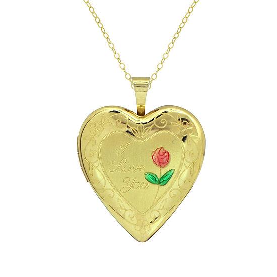 Womens 10K Gold Heart Locket Necklace