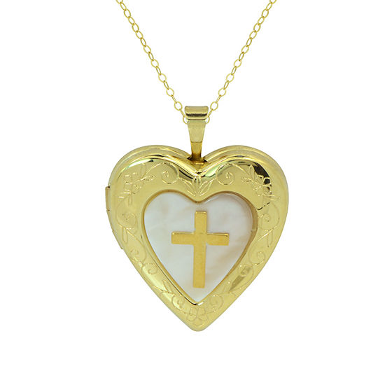 Womens White Mother Of Pearl 10K Gold Heart Locket Necklace