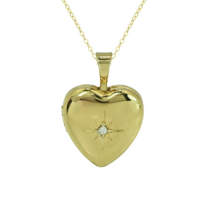 Womens Diamond Accent White Diamond 10K Gold Locket Necklace