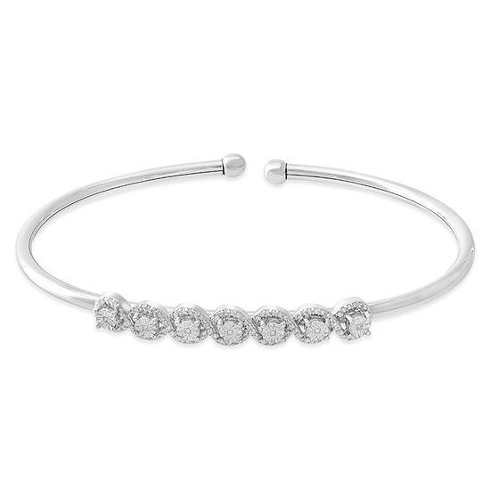 1/4 CT. T.W. Genuine White Diamond Sterling Silver Bangle Bracelet