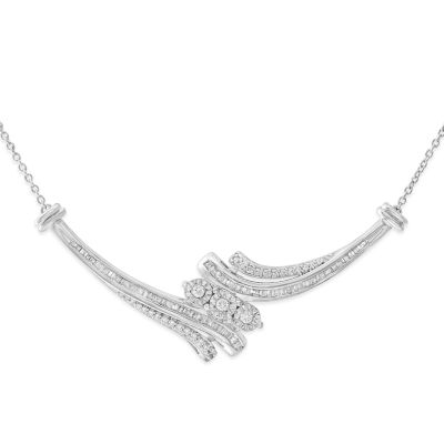Womens 1/2 CT. T.W. White Diamond Sterling Silver Collar Necklace