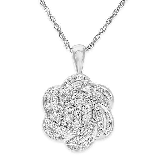Diamond Blossom Womens 1/2 CT. T.W. Genuine White Diamond Sterling Silver Pendant Necklace
