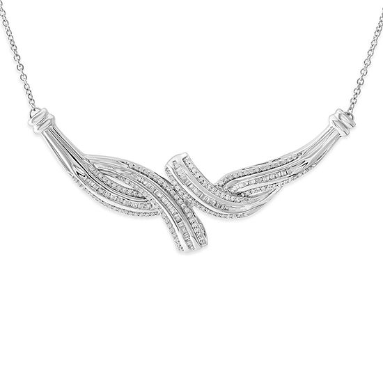 Womens 1/2 CT. T.W. Genuine White Diamond Sterling Silver Collar Necklace