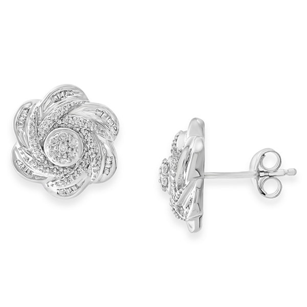 Diamond Blossom 1/2 CT. T.W. Round White Diamond Sterling Silver Stud Earrings