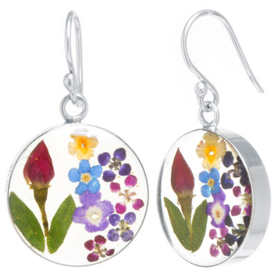 Everlasting Flower Real Pressed Flower Sterling Silver Drop Earrings