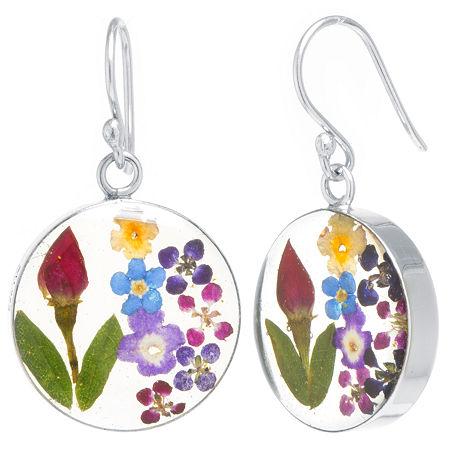 Everlasting Flower Real Pressed Flower Sterling Silver Drop Earrings, One Size